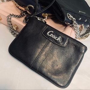 Black Leather Coach Wristlet Clutch Bag Mini Strap